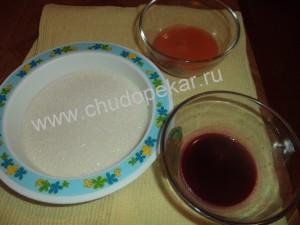 сахарный песок, морковный и свекольный сок