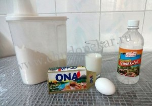 продукты для выпечки хвороста.