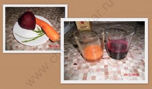 Отжала морковный и свекольный сок.